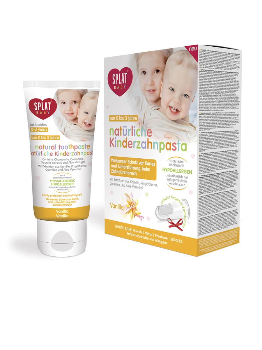 SPLAT Baby Vanille natürliche Zahnpasta (0-3 Jahre) mit Silikon-Putzstab